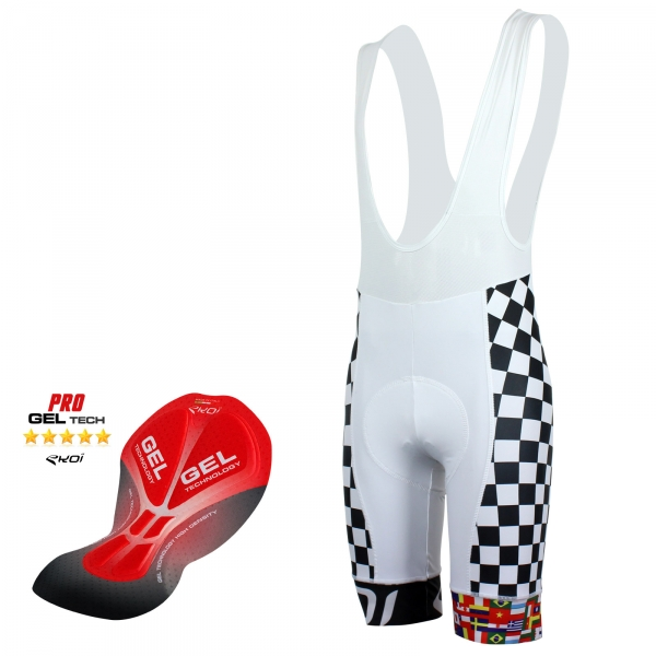 Pantaloncino EKOI World Cycling 2016 Gel BIANCO