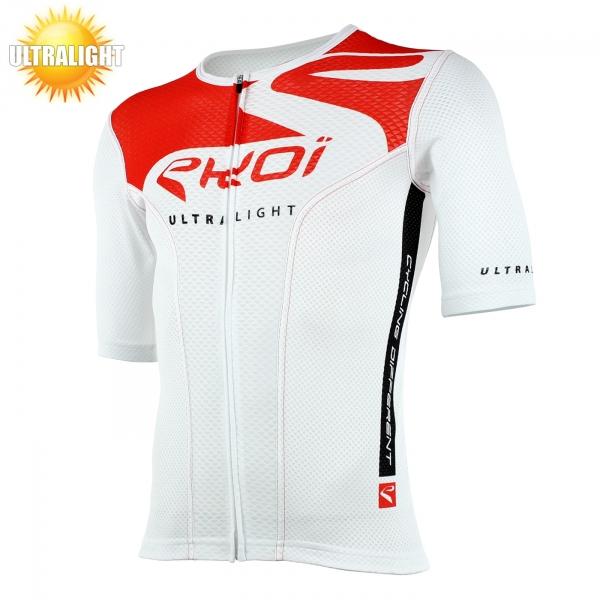 Maillot vélo manches courtes EKOI ULTRALIGHT New Style blanc rouge