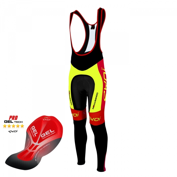 Culotte bike largo EKOI Competition9 Gel amarillo fluo