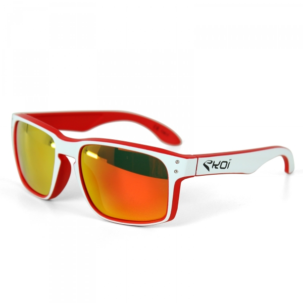 EKOI Lifestyle red/white frame blue lens podium sunglasses