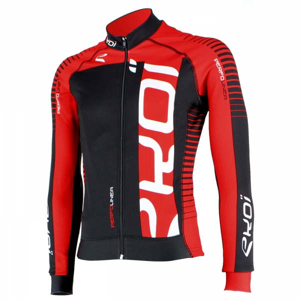 EKOI PERFOLINEA black/red LS winter cycling jersey