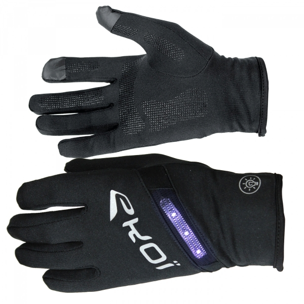 EKOI LED long black cycling gloves