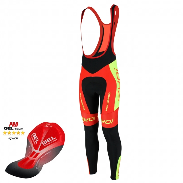 Culotte bike largo EKOI Competition9 Gel LTD Rojo Amarillo