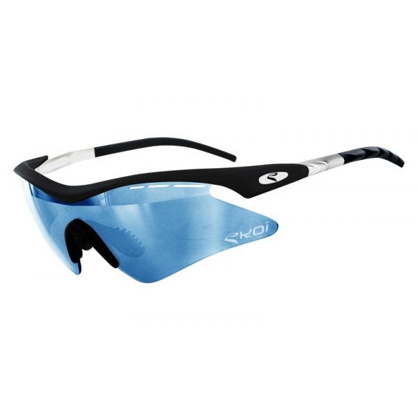EKOI Super Corsa Limited edition matt black and white frame blue photochromic lens sunglasses