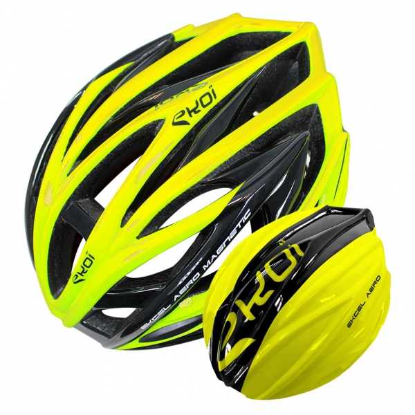 EKOI EKCEL yellow aero helmet and black/yellow aero shell bundle