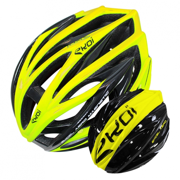 EKOI EKCEL yellow helmet and black/yellow aero shell bundle