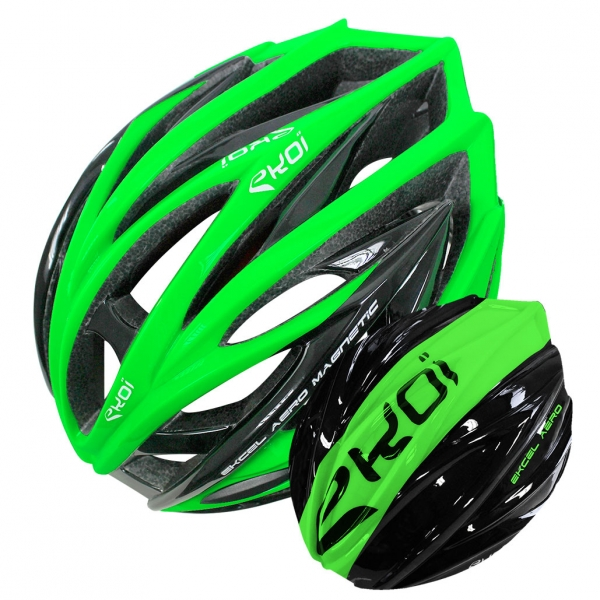EKOI EKCEL green helmet and black/green aero shell bundle