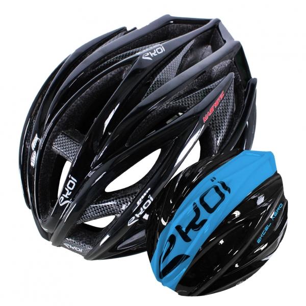 EKOI EKCEL black helmet and black/blue aero shell bundle