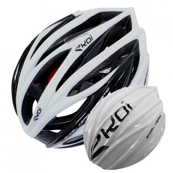 EKOI EKCEL black and white helmet and white aero shell bundle