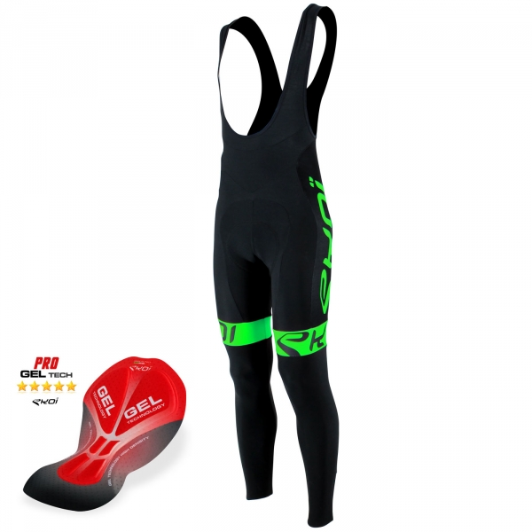 Culotte bike largo EKOI Team Gel Negro Verde fluo