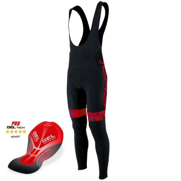 Culotte bike largo EKOI Team Gel Negro Rojo