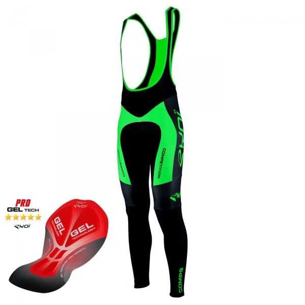 Culotte bike largo EKOI Competition9 Gel negro Verde fluo
