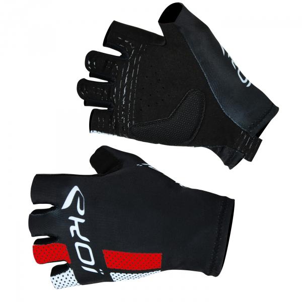 EKOI COMP10 black & red short-fingered cycling gloves