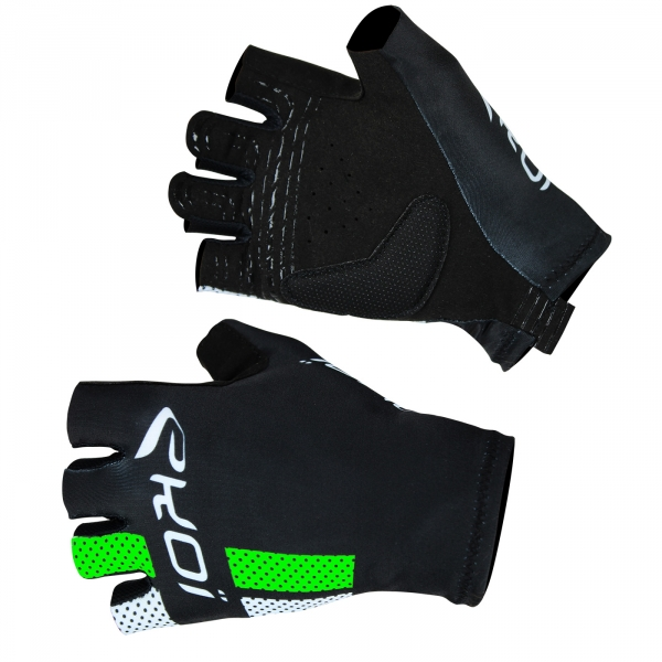 EKOI COMP10 black & fluo green short-fingered cycling gloves