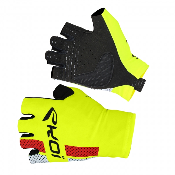 EKOI COMP10 fluo yellow short-fingered cycling gloves