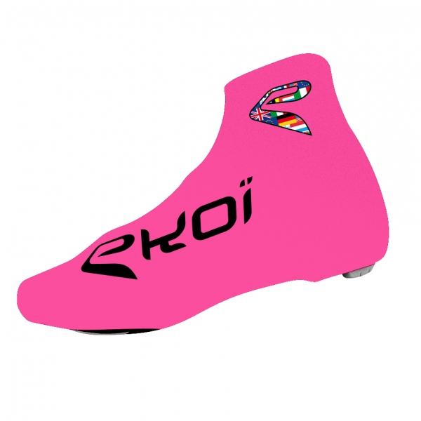 Ochroniacze na buty rowerowe letnie EKOI COMP 2017 Różowe fluo