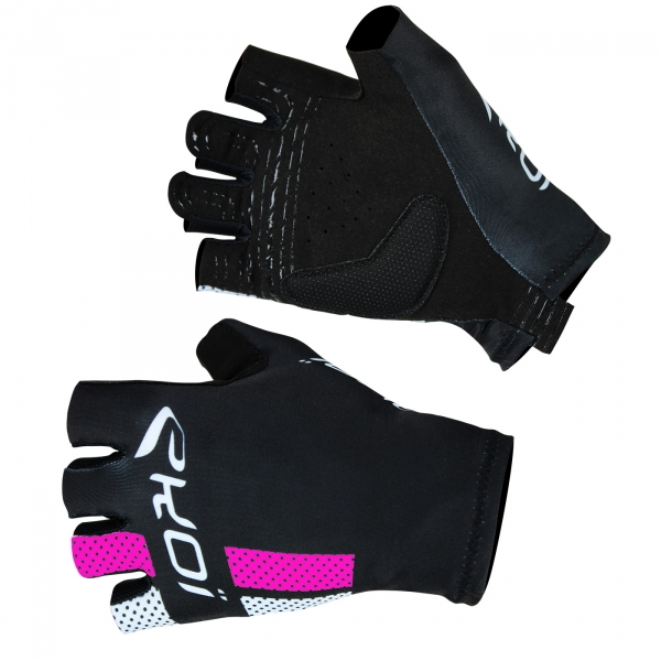 EKOI COMP10 black black & pink short-fingered cycling gloves