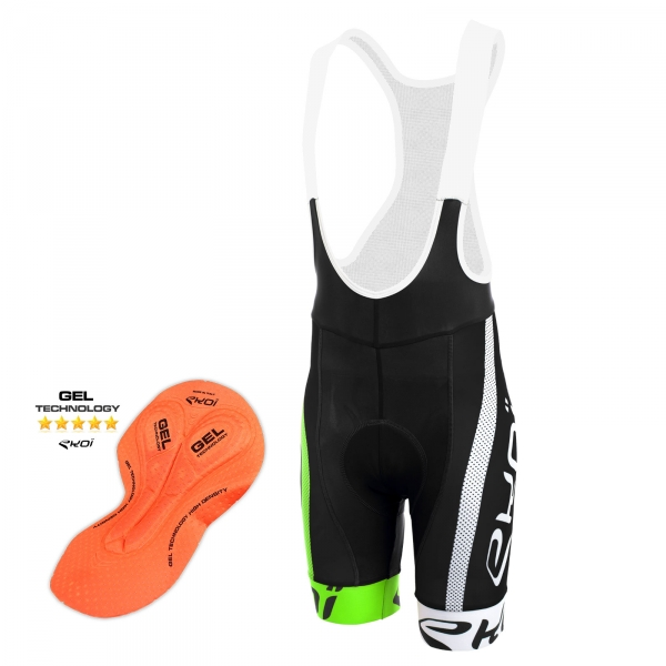 EKOI COMP10 BREATH GEL black, green and white bib short