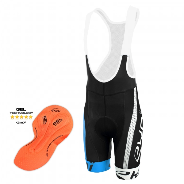 Culotte Bike Corto EKOI COMP10 GEL BREATH Negro azul blanco