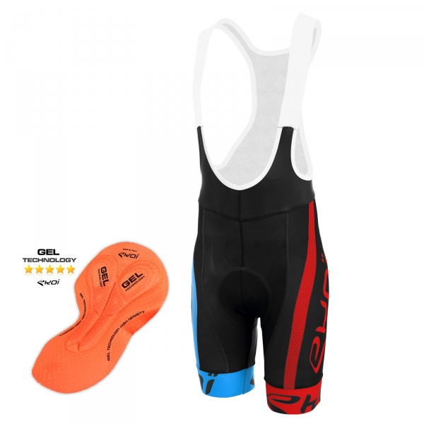 Culotte Bike Corto EKOI COMP10 GEL BREATH Negro azul rojo