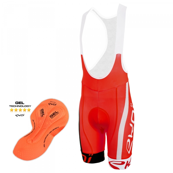 Culotte Bike Corto EKOI COMP10 GEL BREATH Rojo negro blanco
