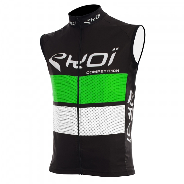 EKOI COMP10 black, green and white windproof gilet
