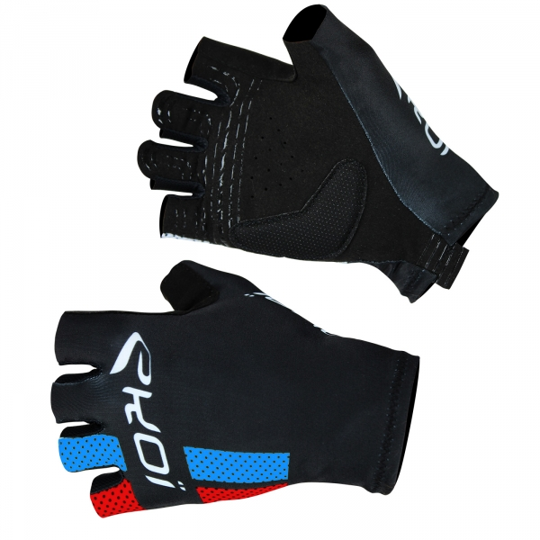 EKOI COMP10 black blue & red short-fingered cycling gloves
