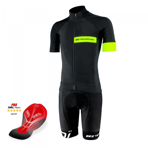 EKOI Primavera Dry Technology yellow fluo jersey and bib short bundle