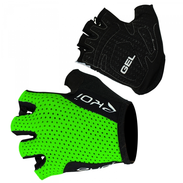 EKOI COMP10 fluo green gel short-fingered cycling gloves