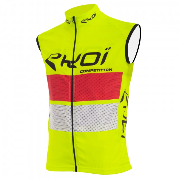 EKOI COMP10 yellow red & white windproof gilet