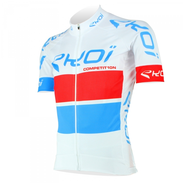 EKOI COMP10 White, Red & Blue short sleeve jersey