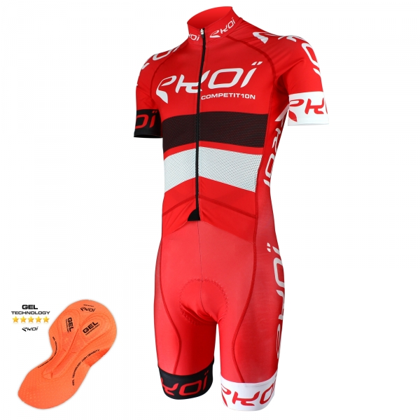 EKOI COMP10 Red Black White skinsuit with gel insert