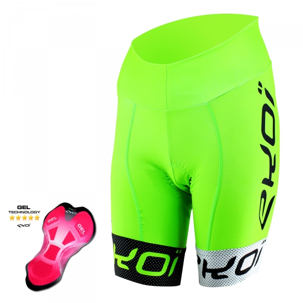 EKOI COMP10 Gel cykelshorts, grøn, sort, hvid