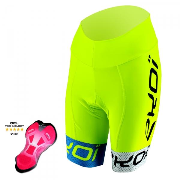 EKOI COMP10 Gel cykelshorts, gul, blå, hvid