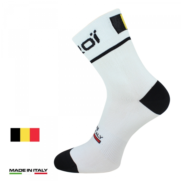 Chaussettes vélo été EKOI NATION Blanc Belgique