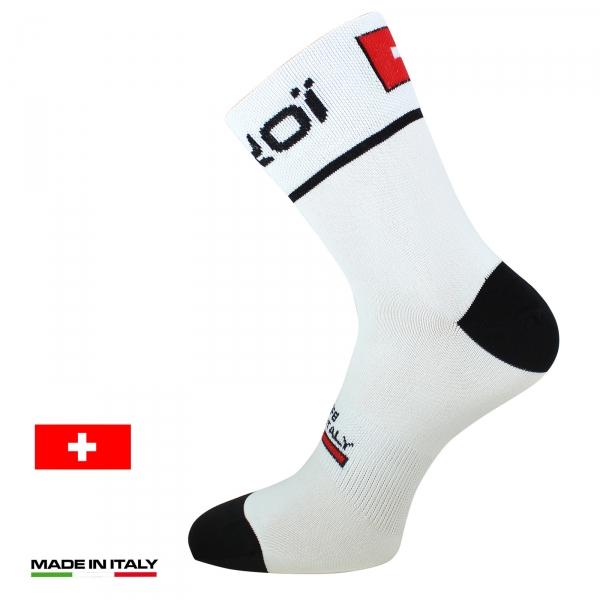 Meias de ciclismo de verão EKOI NATION Branco Suíça - EKOI