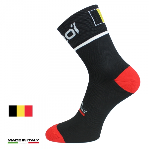 EKOI NATION Black Belgium summer cycling socks