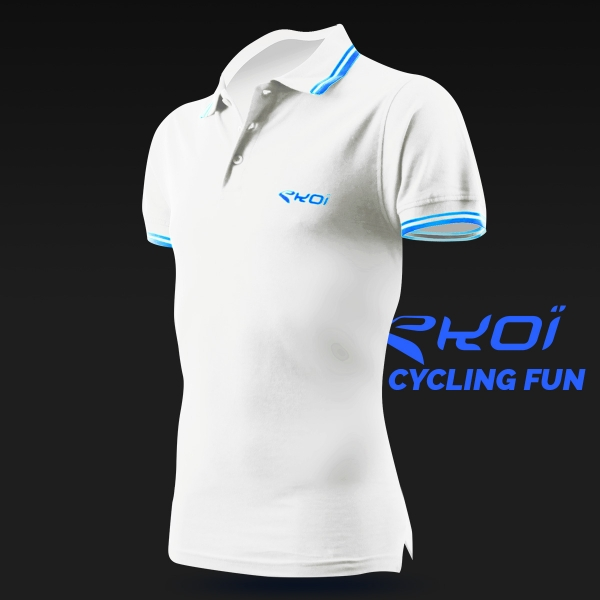 EKOI Cycling Fun men's white polo