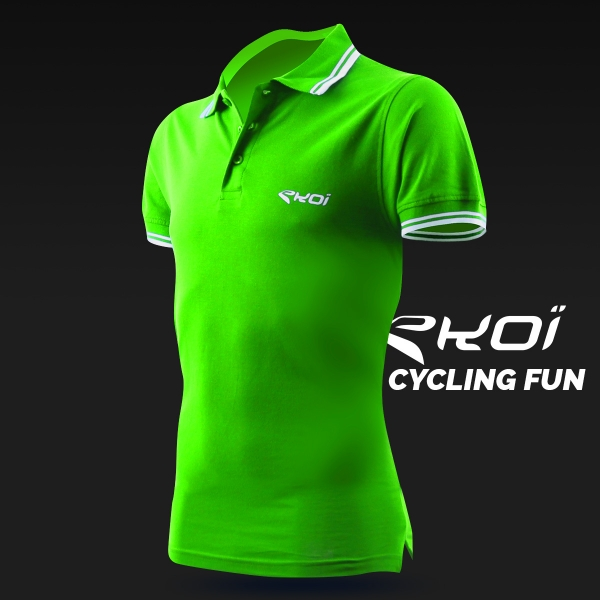 EKOI Cycling Fun men's green polo