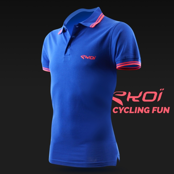 EKOI Cycling Fun men's blue polo