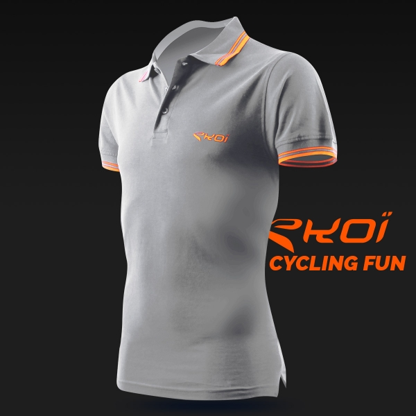 EKOI Cycling Fun men's grey polo