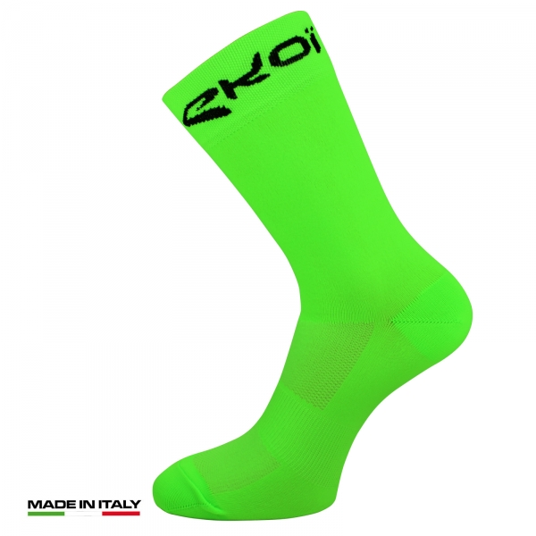Meias de ciclismo de verão EKOI Sunlight Verde fluorescente