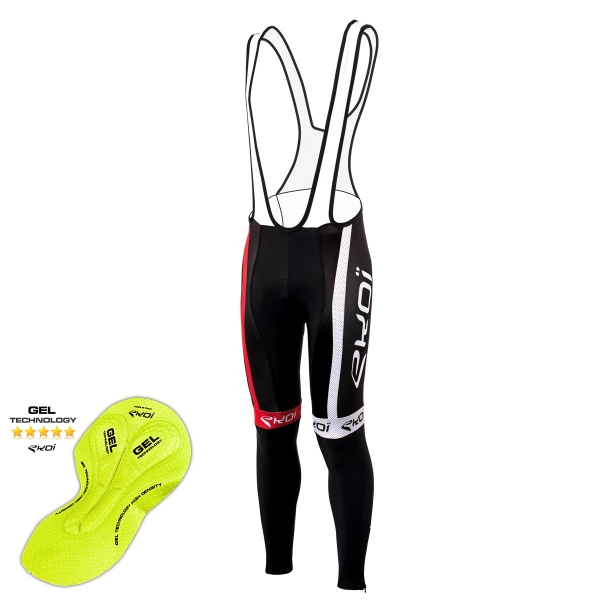EKOI COMP10 Black / Red bib tights with GEL pad