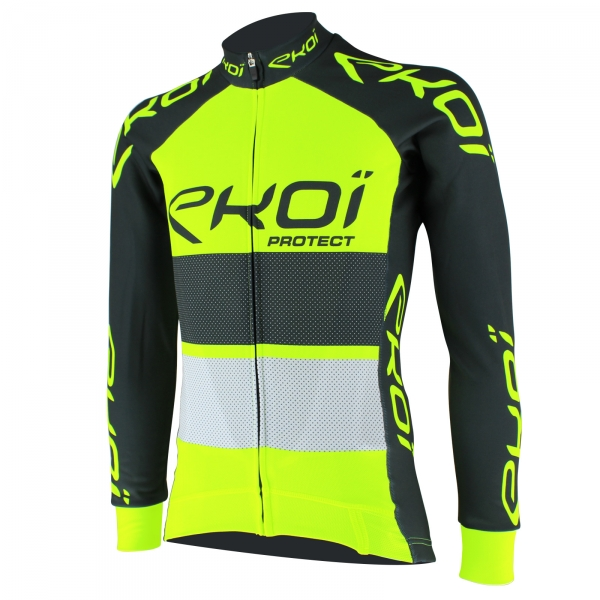 EKOI PROTECT minimum overtaking distance Yellow fluo / Slate grey long sleeve cycling jersey