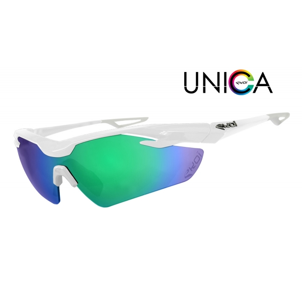 EKOI Limited edition white UNICA sunglasses Revo green lens