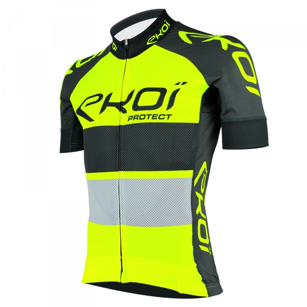 EKOI PROTECT UK minimum overtaking distance yellow fluo / Slate grey short sleeve jersey
