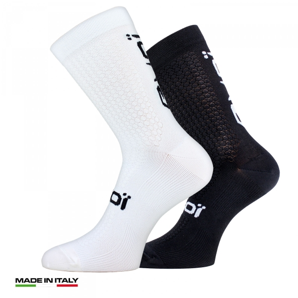 EKOI pack of 1 White pair and 1 Black pair Proteam Autumn Cycling Socks