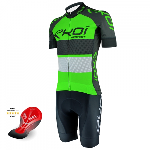 EKOI PROTECT Green fluo / Grey short sleeve jersey and Grey bib short with GEL pad bundle