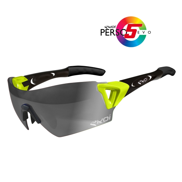 EKOI PERSOEVO5 limited edition Yellow / Matt black sunglasses Cat1-2 photochromic lens