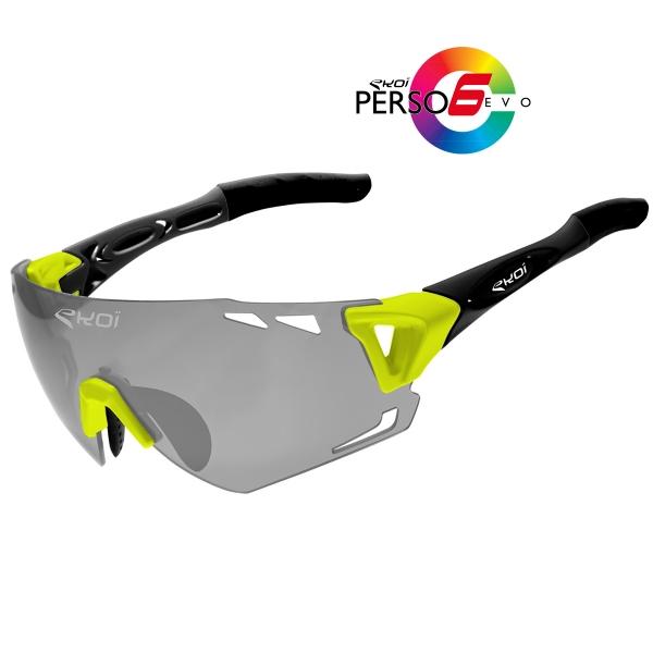 EKOI PERSOEVO6 limited edition Yellow / Matt black sunglasses Cat1-2 photochromic lens